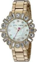 Betsey Johnson Women's BJ00612-02 Mixed Crystal Bezel Gold Case and Bracelet Watch