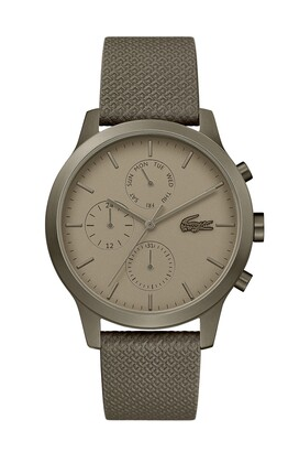 Lacoste Mens Lacoste.12.12 Watch with Khaki Leather Petit Pique Strap