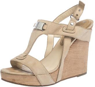 Celine Beige Leather T-Strap Wedge Platform Slingback Sandals Size 37.5