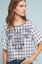 Moon River Embroidered Gingham Top