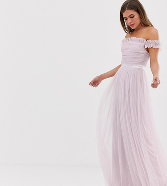 Bardot Anaya With Love tulle ruffle shoulder maxi dress with satin trim in soft pink-Green