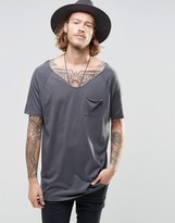 Asos Longline T-Shirt With Raglan Sleeves And Drape Pocket