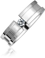 Bling Jewelry Grooved Stainless Steel Tension Set Wedding Band Ring Size 6