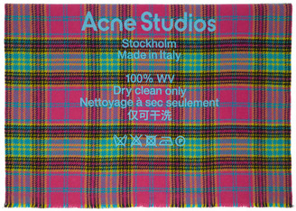 Acne Studios Pink and Blue Wool Tartan Check Scarf