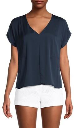 Milly Dolman-Sleeve Stretch-Silk Top