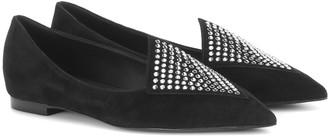 Balmain Crystal-embellished suede slippers