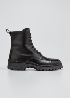Prada Leather Lug-Sole Combat Booties