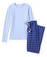 Classic Women's Petite Knit Sleep Set-Ivory/Caspian Blue Lattice