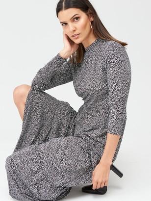 Warehouse Brushed Spot Tiered Midi Dress - Black