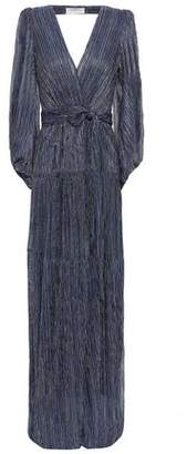 BA&SH Maddie Open-back Wrap-effect Metallic Stretch-knit Maxi Dress