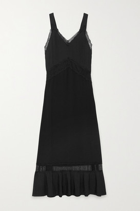 Osiris Sleeping With Jacques Sleeping with Jacques Lace-paneled Silk Nightdress - Black