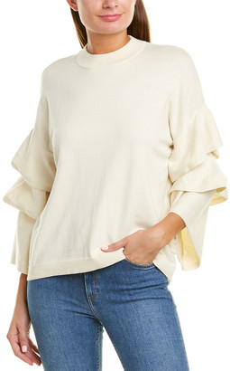 Two Bees Cashmere Taylor Tiered Cashmere-Blend Sweater