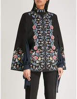 Vilshenko Roselyn floral-embroidered wool cape