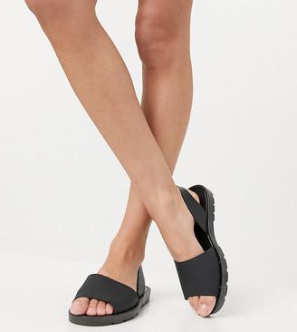 London Rebel wide fit slingback jelly flat sandals in black