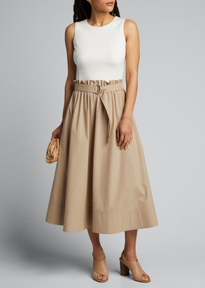 Akris Punto Two-Tone Cotton Paperbag-Waist Dress
