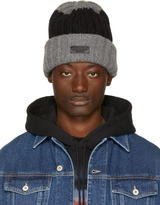 DSQUARED2 Grey and Black Bicolor Beanie