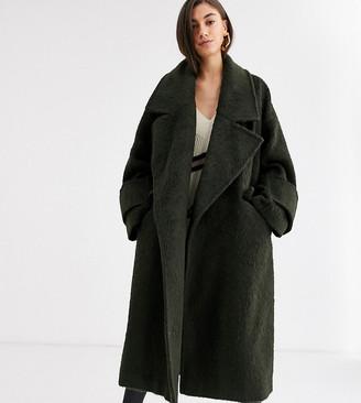 Asos Tall DESIGN Tall hero coat with cuff detail in khaki-Green
