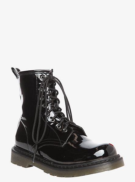 Torrid Black Patent Combat Boots (Wide Width)