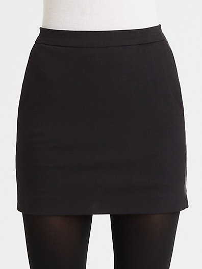 DKNY Leather-Detail Mini Skirt