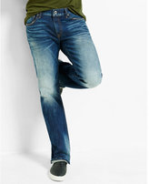 Express boot leg slim fit flex stretch dark wash jean