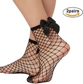 NAATI Sexy Bow Tie Soft Back Ruffe Fishnet Mesh Anke Short Socks for Girs and Woman
