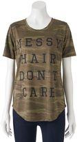 "Awake Juniors' Messy Hair Don't Care"" Camo Graphic Tee"