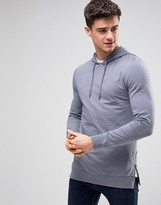 Asos Muscle Hoodie With Side Zips In Blue
