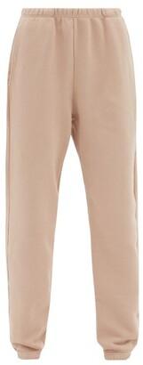 LES TIEN Brushed-back Cotton Track Pants - Light Pink