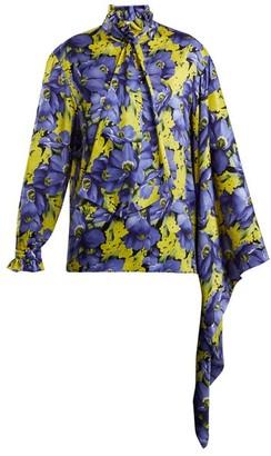 Balenciaga Poppy-print Silk-jacquard Shirt - Womens - Purple Multi