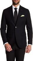 Michael Bastian Black Woven Two Button Notch Lapel Wool Extra-Trim Fit Blazer