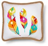 "Mudhut Bright Adventure Feather Decorative Pillow (18""x18"") Multicolored"