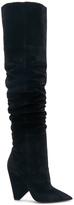 Saint Laurent Niki Velvet Thigh High Boots in Black.