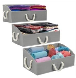 Sorbus Trapezoid Storage Box with Cotton Rope, Set of 3