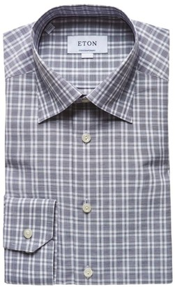 Eton Contemporary-Fit Plaid Dress Shirt