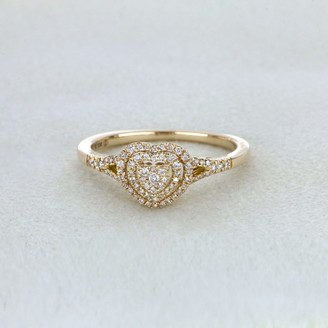 De Couer IGI Certified 1/4ct TDW Diamond Cluster Heart Shape Engagement Ring - Yellow