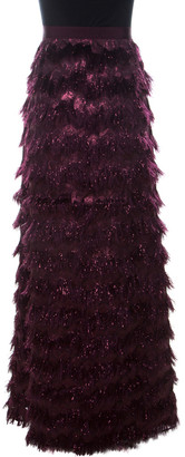 Max Mara Burgundy Metallic Jacquard Faux Feather Fringed Maxi Skirt S