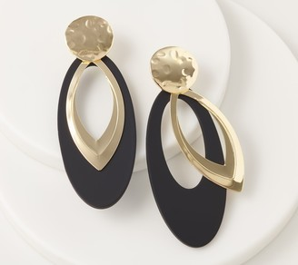 Susan Graver Oval Drop Earrings with Metal Overlay