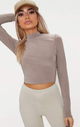 PrettyLittleThing Taupe Slinky High Neck Long Sleeve Crop Top