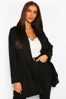 boohoo Belted Wrap Detail Wool Look Coat
