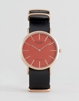 Reclaimed Vintage Inspired Leather Watch With Pink Dial