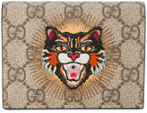 Gucci angry cat appliqué wallet - women - Leather - One Size