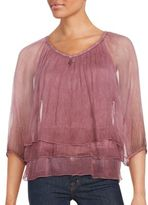 Saks Fifth Avenue Roundneck Sheer Layered Top