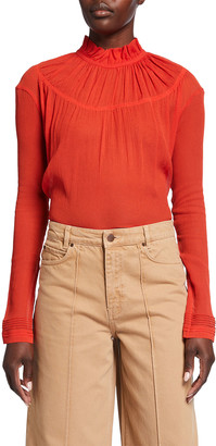 Victoria Victoria Beckham Pintuck Ruffle Long-Sleeve Blouse