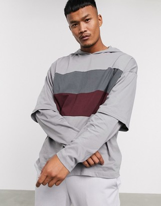 Asos DESIGN organic oversized hooded long sleeve t-shirt with double layer sleeve and color block in gray