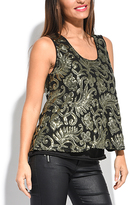 Miss June Black & Gold Damask Sequin Tank