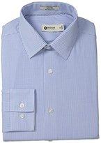 Haggar Men's Bengel Stripe Point Collar Regular Fit Long Sleeve Dress Shirt