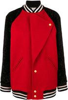 Lanvin lapel varsity jacket - women - Polyamide/Cupro/Viscose/Wool - 38