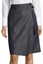 Ellen Tracy Petite Belted Cotton-Linen Wrap Skirt