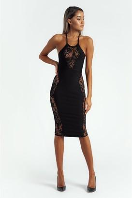 Made By Issae The 'Alaina' Black Sleeveless Bandage Midi Dress