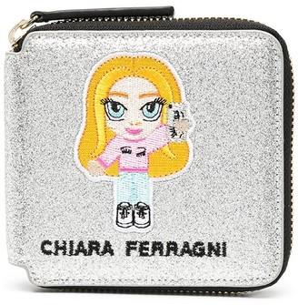 Chiara Ferragni Embroidered Logo Zip Wallet